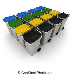Group of recycling bins - 3D rendering of a battery of...