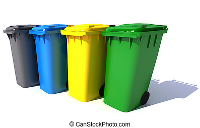 Garbage bins in colors - 3D rendering of four garbage bins...