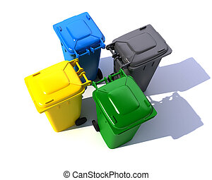 Aerial view of colorful garbage bins - 3D rendering of four...
