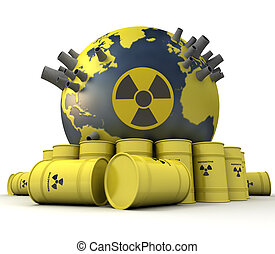Atomic hazard - 3D rendering of the Earth with nuclear power...