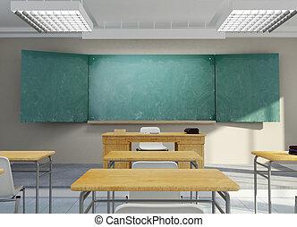 Classroom rendering - 3D rendering of a school classroom