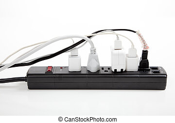 over loaded surge protector - An over loaded black surge...