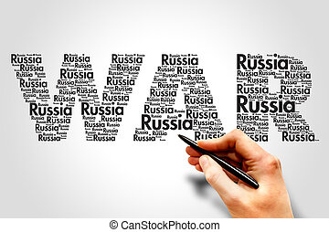 Russia War Terrorism concept word cloud vector background