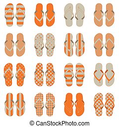 Pop Art style flip flops in a colorful checkerboard design....