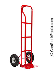 a red hand truck on white - A red hand truck/dolly on a...