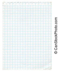 Graph paper - Old graph paper isolated on white Extra high...