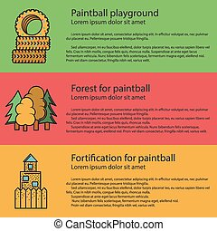 Paintball playground flat color vector illustration - Design...