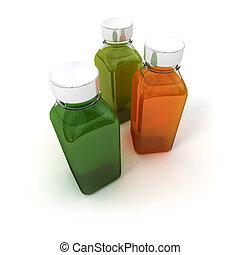 Trio of sample bottles - 3D rendering of three ample bottles...
