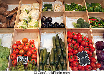 Greengrocer display - Greengrocer?s display with boxes full...