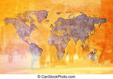 World Population Concept, Earth shaped crack in Yellow wall...