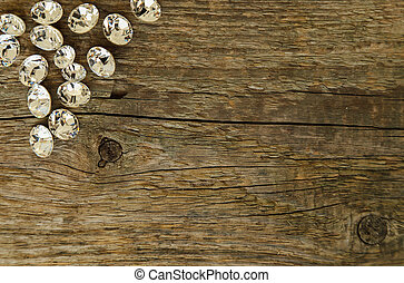 Jewellery Few crystals on the wooden table