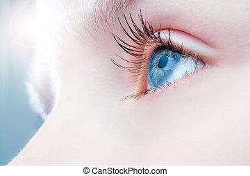 Macro close up of human eye. - Macro close up of human eye...
