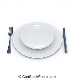 white place setting - 3D rendering of a place setting with...