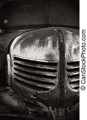 Old Chevrolet BW - Image of an old rusty Chevrolet in black...