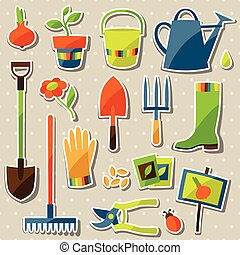 Set of garden sticker design elements and icons.