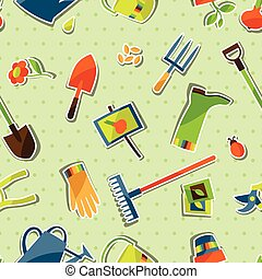 Seamless pattern with garden sticker design elements and...