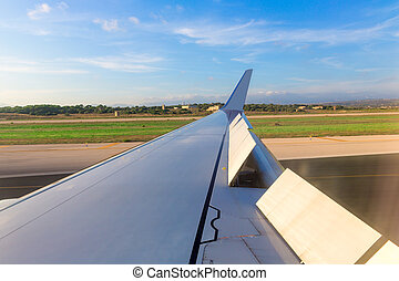 Aircraft airplane wing in landing process