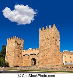 Alcudia Porta de Mallorca in Old town at Majorca Balearic...