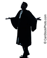 lawyer man pleading silhouette - one lawyer man pleading...