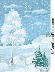 Christmas Winter Forest Landscape with Birch, Firs Trees and...