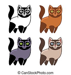Set of Cartoon Kitties or Cats. Vector illustration