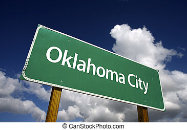 Oklahoma City Green Road Sign - Oklahoma City Road Sign with...