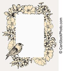 Vector illustration Vintage frame with blooming flowers and...