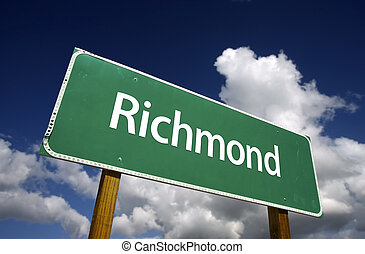 Richmond Green Road Sign - Richmond Road Sign with dramatic...