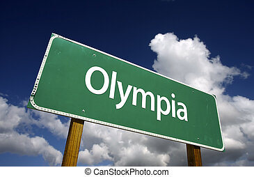 Olympia Green Road Sign - Olympia Road Sign with dramatic...