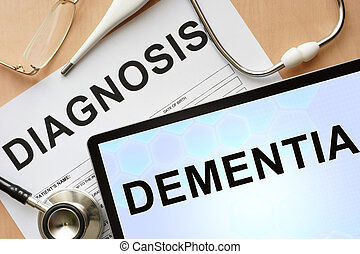 dementia - Tablet with diagnosis dementia and stethoscope....