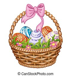 Happy Easter - Basket with Easter eggs