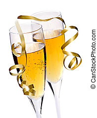 Champagne glasses - Two full champagne flutes with sparkling...