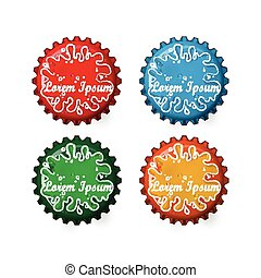 Bottle caps in four different colors