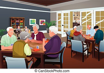Elderly people playing cards - A vector illustration of...