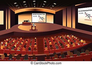 Presentation in a conference in an auditorium - A vector...