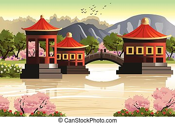 Background of Chinese temples - A vector illustration of...