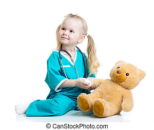 kid girl playing doctor