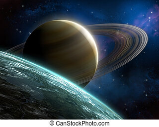 Ring planet - Space panorama including a blue planet and a...