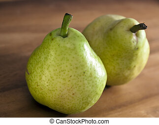 Pear, small depth of sharpness