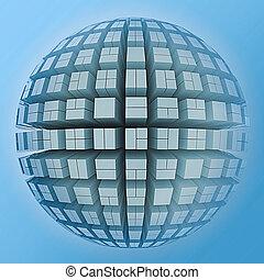 Globe of cubes. 3D render Illustration.