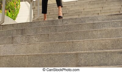 Business Woman On High Heels - Portrait of latina woman...