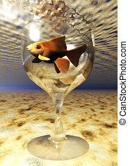 Digital Illustration of a Goldfish Glass
