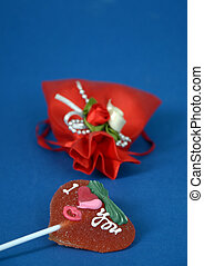 Red heart shape lolly pop - picture of Red heart shape lolly...