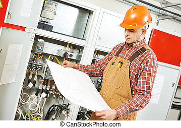 electrician engineer worker - adult electrician builder...