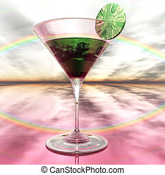 Digital Illustration of a Cocktail Glass