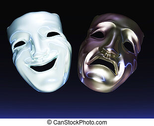 Digital Illustration of Theater Masks
