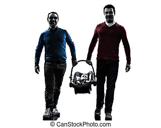 homosexual parents men family with baby silhouette -...