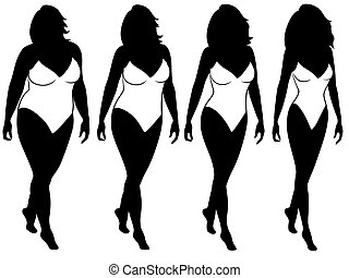 Abstract woman on the way to lose weight - Four stages of...