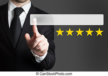 businessman pushing button five rating stars - businessman...