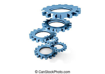tower of blue colored metallic cogwheels hovering...